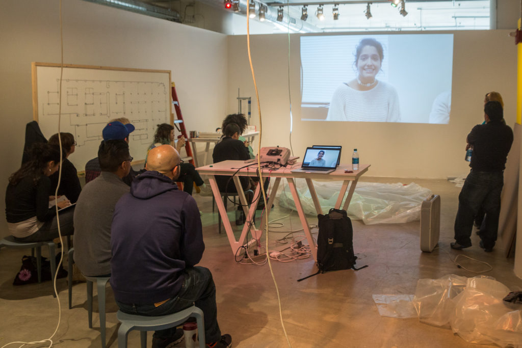 Drea Howenstein's class at SAIC watches a Proyecto Carrito video.