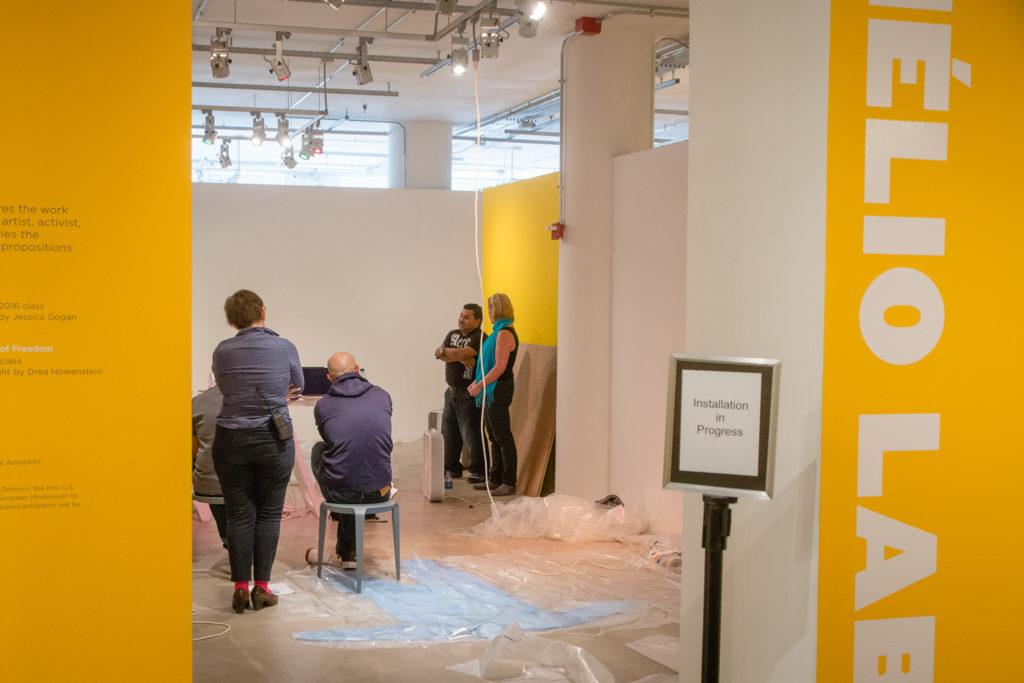 Mario Ernesto Osorio and Tamera Marko in SAIC's Sullivan Galleries.