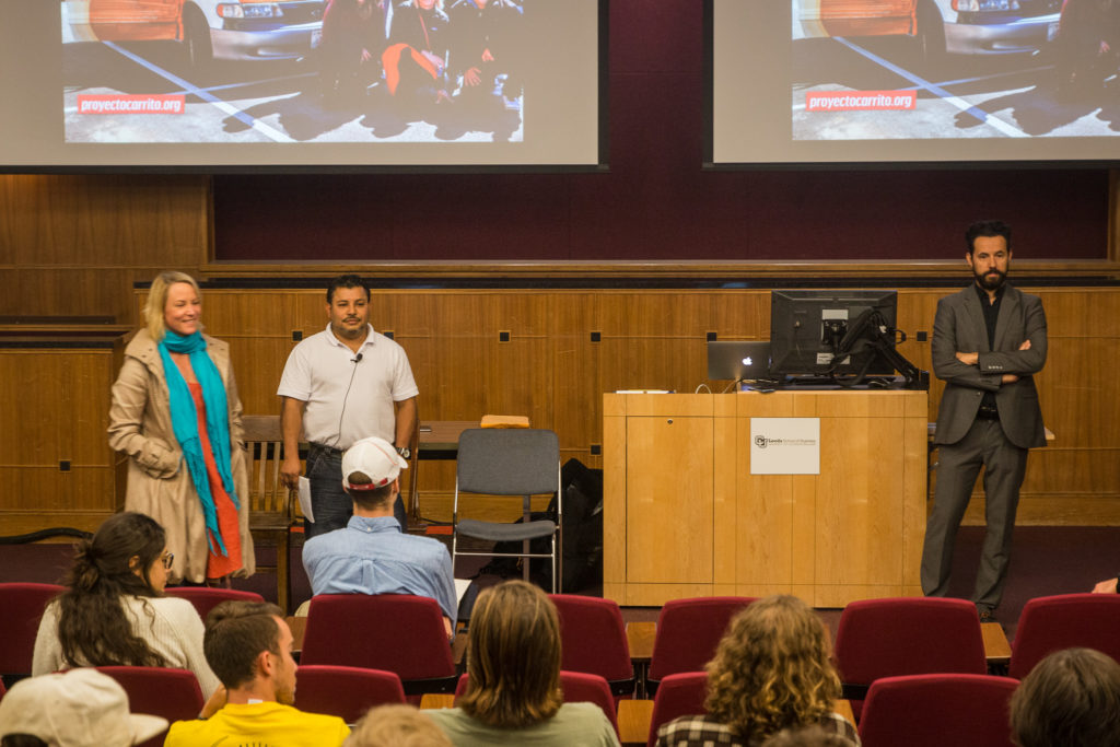 Left to right, Proyecto Carrito Caravan co-directors Tamera Marko and Mario Osorio, and CU Boulder professor Jota Samper.